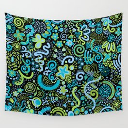 Avocado Navy Sky Blue Zendoodle Wall Tapestry