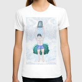 Pouring icy water from a bucket in the winter from a polyny T-shirt