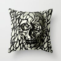 skulls Throw Pillows featuring Skull by Ali GULEC