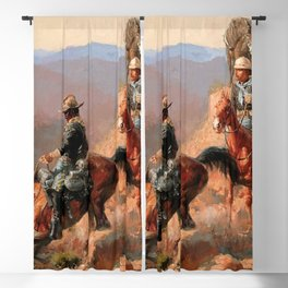 """Frederick Remington Western Art """"With the 10th Cavalry"""" Blackout Curtain"""