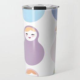 dolls matryoshka on white background, pastel colors Travel Mug