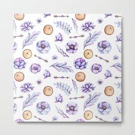Hand painted violet lavender watercolor boho floral Metal Print