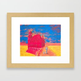 Walking the dog in post-capitalist afternoon. Framed Art Print