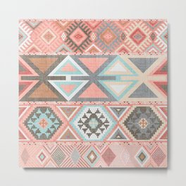 Aztec Artisan Tribal in Pink Metal Print