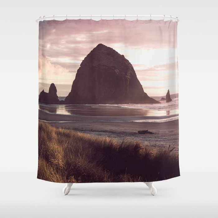 Who Sells Cannon Bath Towels: Cannon Beach Sunset Shower Curtain By Cascadia