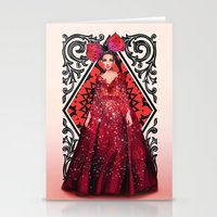 kardashian Stationery Cards featuring Queen of Hearts by Sara Eshak