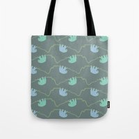 sloths Tote Bags featuring Sloths  by Chloe Wood Design
