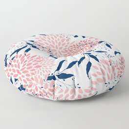 Festive, Floral Prints and Leaves, Navy Blue, Pink and White Floor Pillow