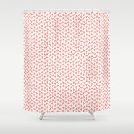 Forget Me Nots - Living Coral on White Shower Curtain