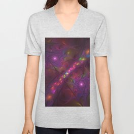 Colorful And Luminous Fractal Art Unisex V-Neck