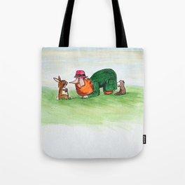 Eye to eye Leprechaun and Rabbit Tote Bag