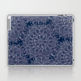 Modern navy blue blush pink watercolor floral mandala Laptop & iPad Skin