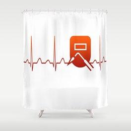 WELDER HEARTBEAT Shower Curtain