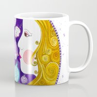 gemini Mugs featuring Gemini by Sandra Nascimento