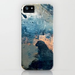 Wander [2]: a vibrant, colorful, abstract in blues, pink, white, and gold iPhone Case