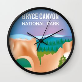 Bryce Canyon National Park, Utah - Skyline Illustration by Loose Petals Wall Clock