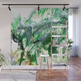 The wild shadow tropical palm tree green bright photography Wall Mural