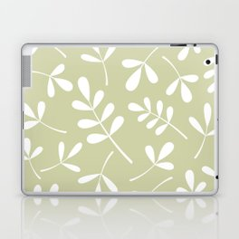 Assorted Leaf Silhouettes White on Lime Laptop & iPad Skin
