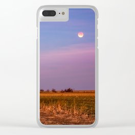 Hay Bales Under the Super Blue Blood Moon in Oklahoma Clear iPhone Case