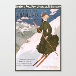 1905 Chamonix France Winter Sports Travel Poster Canvas Print