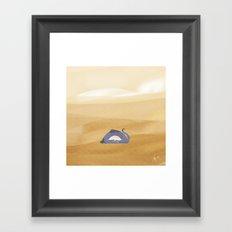 little dragon is sleeping in the sand illustration Framed Art Print