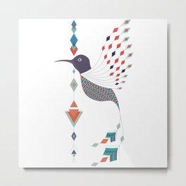 Vintage ethnic tribal aztec bird Metal Print