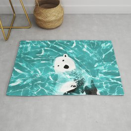 Playful Polar Bear In Turquoise Water Design Rug