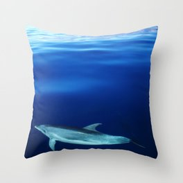 Dolphin and blues Throw Pillow