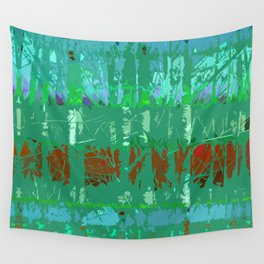 Abstract Forest Trees in Teal and Green Wall Tapestry
