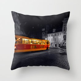 Tram at Night - Colour Composite  Throw Pillow