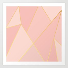 Elegant Pink Rose Gold Geometric Abstract Art Print