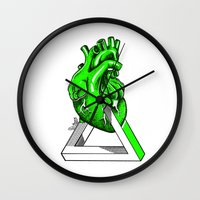 anatomical heart Wall Clocks featuring Green Anatomical heart  by Mia Hawk