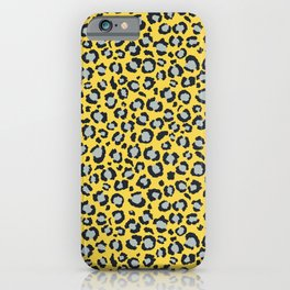 Yellow Black and Grey Leopard Print Animal Print iPhone Case