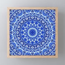 Blue Mandala Mehndi Style G403 Framed Mini Art Print