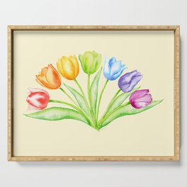 Rainbow Tulips, Flowers with Yellow Background Serving Tray