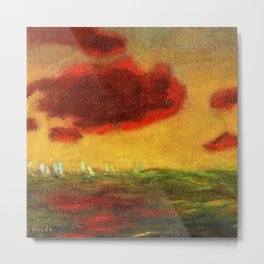 Sailing Yachts on the High Seas at Sunset nautical landscape by Emil Nolde Metal Print
