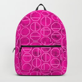 Pink Heaxagon Geomentric Pattern Backpack