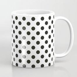 black dots on white pattern  - polka dot design large Coffee Mug