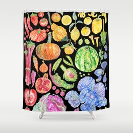 Rainbow of Fruits and Vegetables Dark Shower Curtain