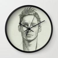 eddie vedder Wall Clocks featuring Eddie Redmayne by Bea Barnachea