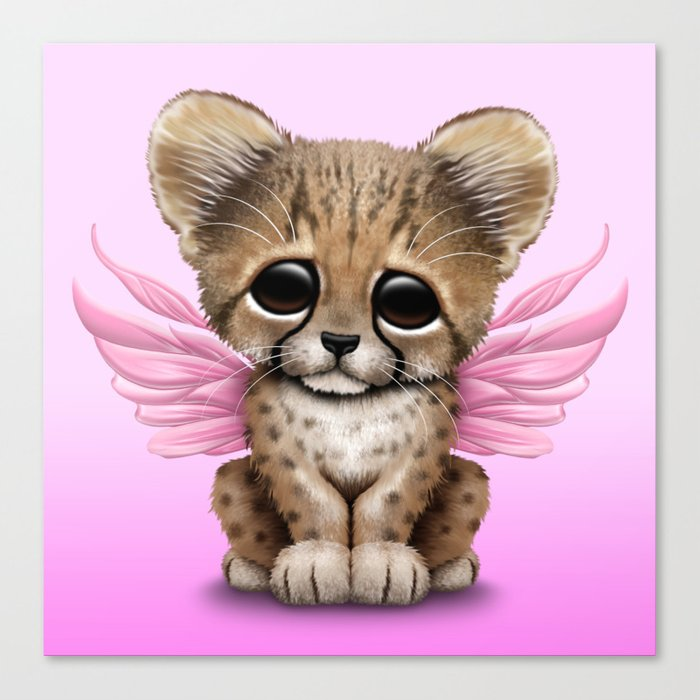 Cute Baby Cheetah Cub With Fairy Wings On Pink Canvas