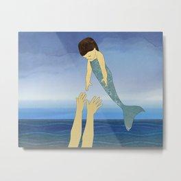 Triton tossing his mermaid daughter Metal Print