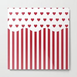 Valentines Day popcorn - white and red Metal Print