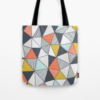 triangles Tote Bags featuring Triangles by Patterns and Textures