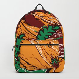 Flower Pop Art Orange Burgundy and Green Nature Still Life Block Flat Colour Graphic Art Backpack