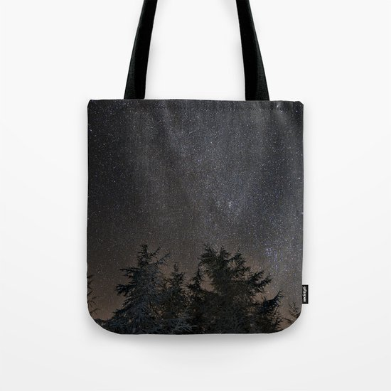 Andromeda Galaxy, Perseus and milkyway over the forest in the mountains Tote Bag