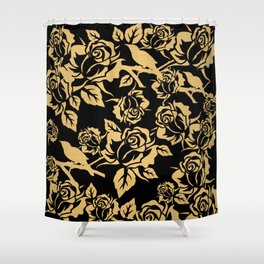 Gold Rose Pattern on Black Shower Curtain