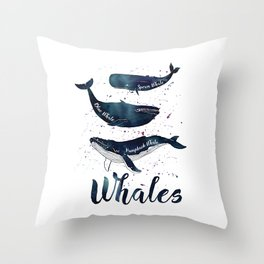 Watercolor Whales print Throw Pillow