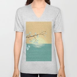 Delicate Asian Inspired Image of Pastel Sky and Lake with Silver Leaves on Branch Unisex V-Neck