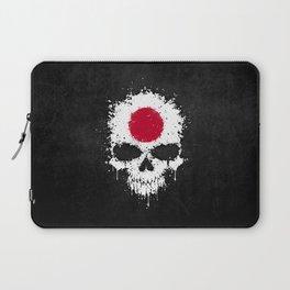 Flag of Japan on a Chaotic Splatter Skull Laptop Sleeve